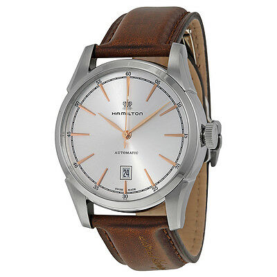 Hamilton Spirit of Liberty Automatic Silver Dial Brown Leather Mens Watch