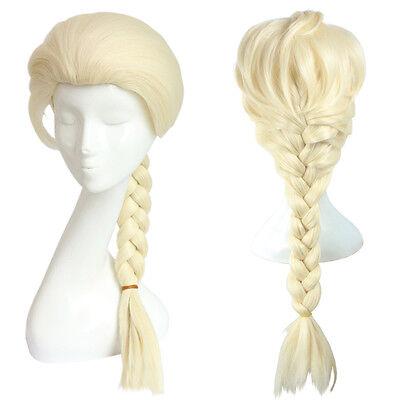 rinzessin Elsa Perücke wig Cosplay Blond Gold Lang Fasching  (Elsa Perücke)