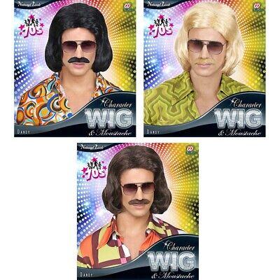 70er 80er JAHRE DANDY PERÜCKE Karneval Dude Hippie Night Fever Herren Kostüm
