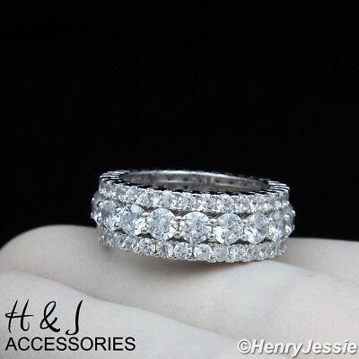 MEN 925 STERLING SILVER FULL LAB DIAMOND 9MM WEDDING BAND RING*ASR105
