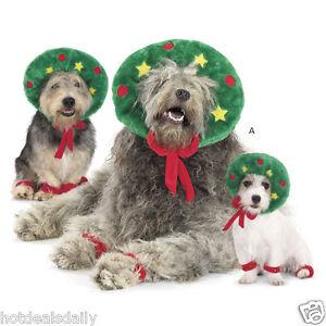 Wreath dog outfit set paw scrunchies large plush holiday pet costume