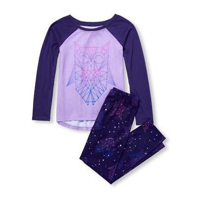 NWT The Childrens Place Celestial Owl Girls Purple Long Sleeve Pajamas Set