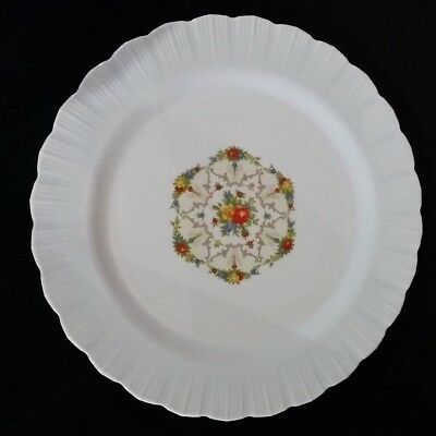 "Vintage 12"" White Plate with Floral Design, Made in USA"
