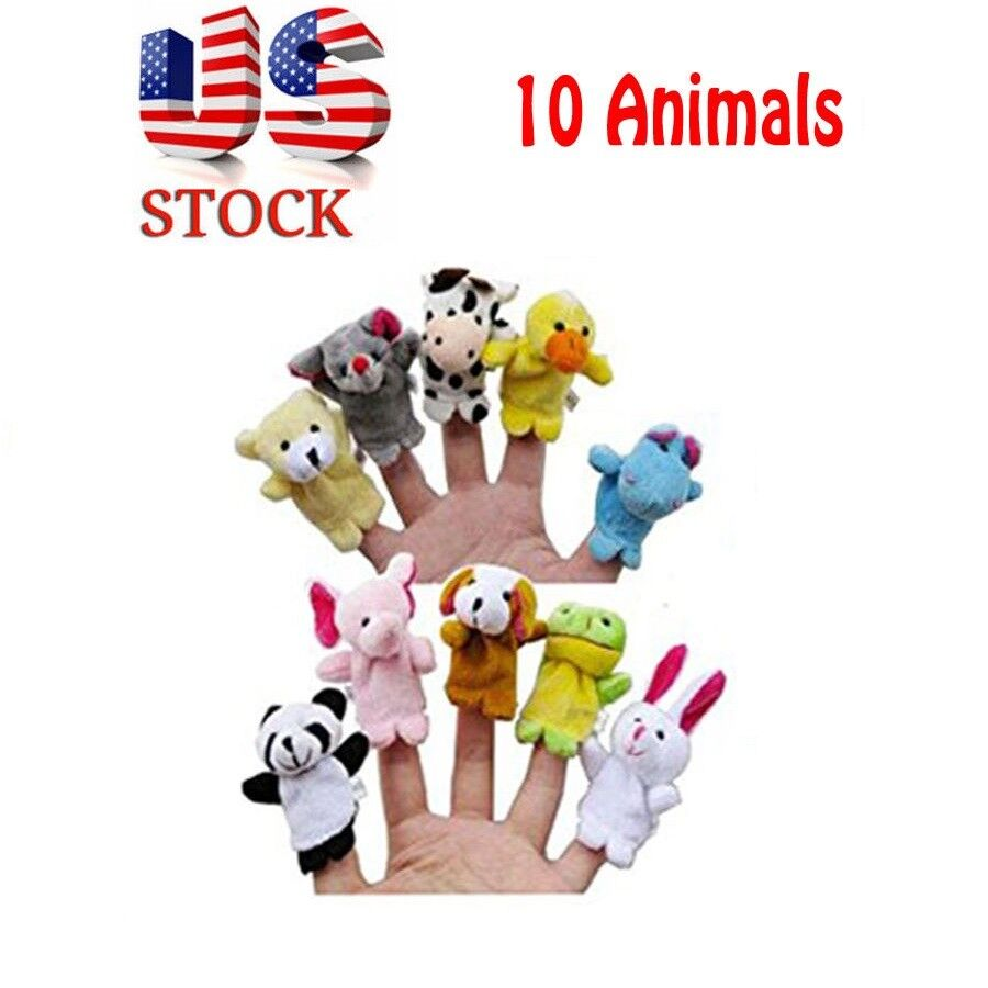 10PC Story Finger Puppets 10 Animals Educational Toy HM Baby