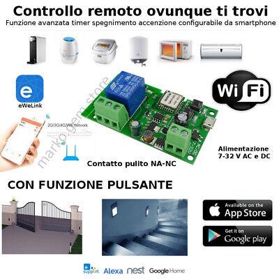 Domotica pulsante WiFi contatto pulito comando da smartphone APP e NEST orologio
