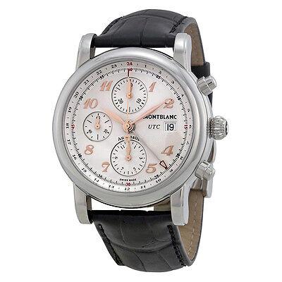 Montblanc Star Chronograph UTC Silver Dial Black Leather Mens Watch 110590