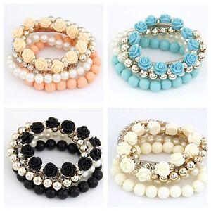 Beautiful rose pearl crystal and beaded multi strand bracelet black