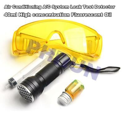 AC Leak Detector Kit Air Conditioning Test UV Lamp w/ 40ML Detection Oil Goggles