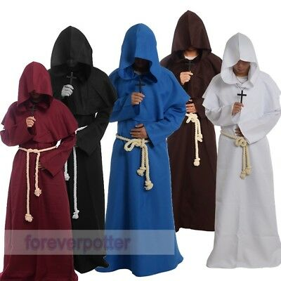 Vintage Friar Medieval Robe Hooded Monk Cowl Renaisance Priest Cosplay Costume