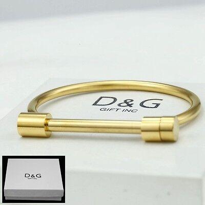 """DG Women's 6.5"""" Stainless-Steel Gold,Screw Bangle Bracelet,Unisex + Box"""