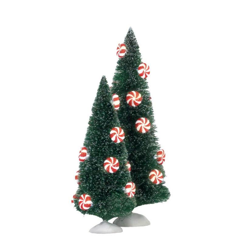 Dept 56 Peppermint Lit Sisal Trees 4025370  D56 NEW Christmas Village