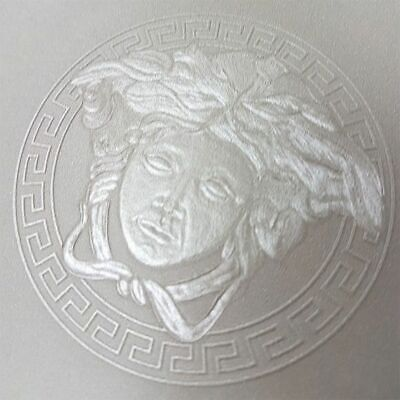 Versace 34862-3 Medusa Head Silver Grey Metallic Designer Wallpaper 348623