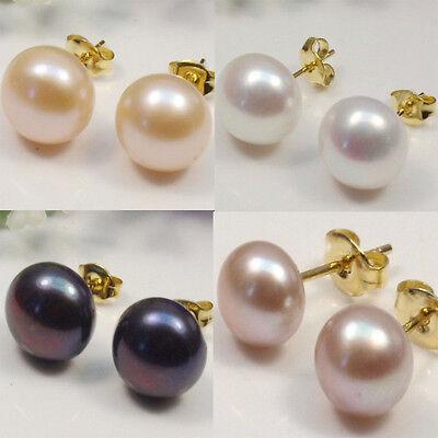 Wholesale 7-12.5MM Black/White/Pink/Purple Natural Akoya Pearl Stud Earrings -