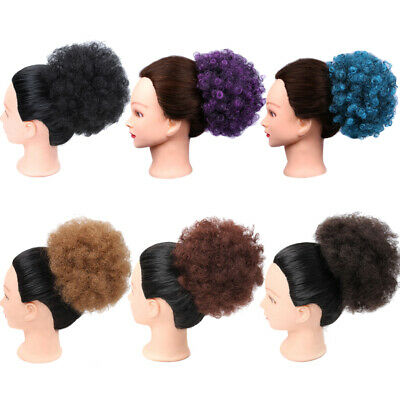 Afro Hair Bun Natural Black Puff Clip In Kinky Curly Ponytails Extension (Natural Puff)