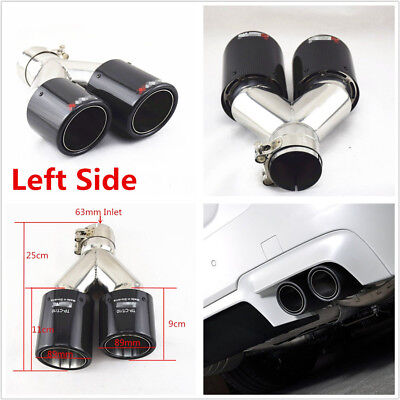 One Left Side Glossy 63-89mm Real Carbon Fiber Car SUV Dual Pipe Exhaust Muffler
