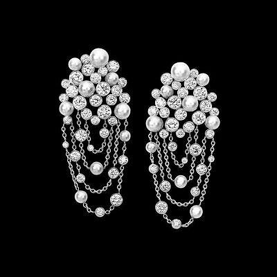 (Solid 925 Sterling Silver Pearl Round Chian New Dangle Earrings Cz Jewelry Women)