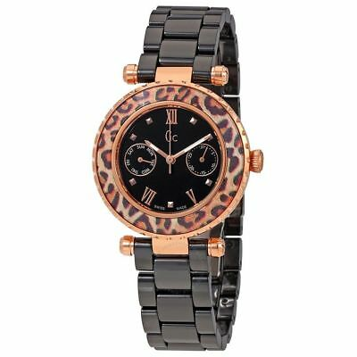 Guess Collection GC Women's Rose Gold Black Ceramic Swiss Watch - X35016L2S (Guess Rose Gold Watch)