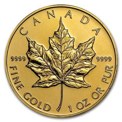 SPECIAL PRICE! 1 oz Gold Canadian Maple Leaf Coin Random Year - SKU #87709
