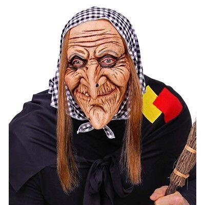 HEXEN HALLOWEEN MASKE & KOPFTUCH Karneval Alte Frau Oma Kostüm Party Deko 03292