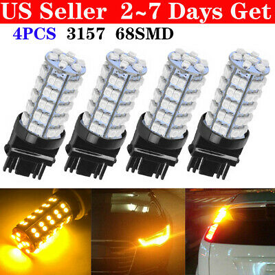 4PCS Amber Yellow 3157A 3457A  4157NA  3157 68-SMD Parking Bulb Lamp LED Lights