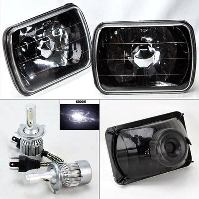 "7X6"" Black Chrome Glass Headlight Conversion w/ 6000K 36W LED H4 Bulbs Pair Jeep"