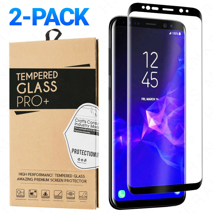 2-Pack Tempered Glass Samsung Galaxy S8 S9 Plus Note 8 9 Ful