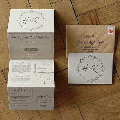 Woodland Story Rustic Wedding Invitation on Kraft Card - optional custom map ()