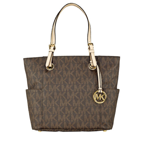 Michael Kors Jet Set Signature Logo Tote Handbag in Brown