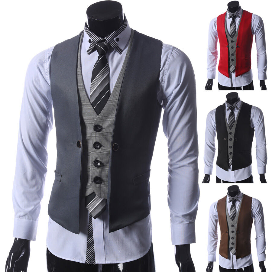 stylish new men 39 s slim fit formal casual dress vest suit waistcoat jacket coats. Black Bedroom Furniture Sets. Home Design Ideas