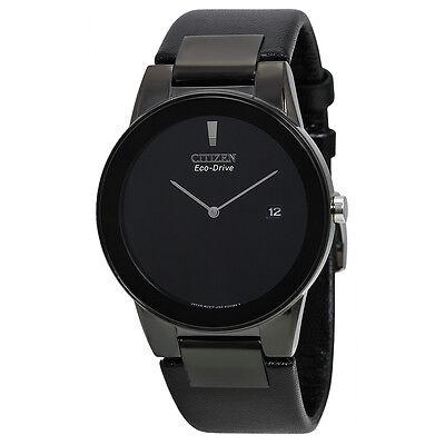Citizen Eco Drive Axiom Black Dial Black Leather Mens Watch AU1065-07E