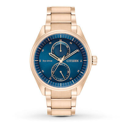 Citizen Eco-Drive Men's Paradex Dark Blue Dial Rose Gold 43mm Watch BU3013-53L