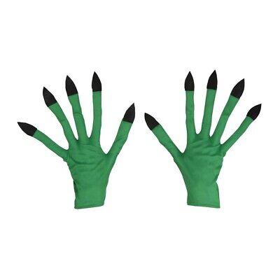 GRÜNE LANGFINGER HANDSCHUHE # Hexen Gnom Troll Monster Alien Kostüm Zubehör - Grüne Kostüm Zubehör