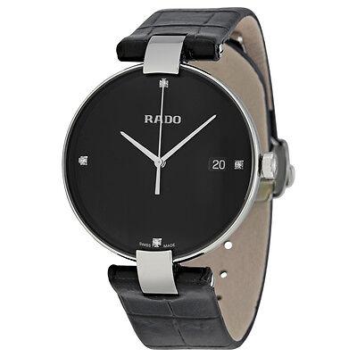 Rado Coupole Black Diamond Dial Leather Mens Watch R22852705