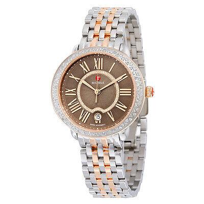 Michele Serein 16 Diamond Two Tone Rose Gold Cocoa Diamond Dial Ladies Watch