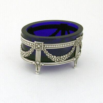 SIGNED; probably Scandinavian Vintage SOLID SILVER Bracelet with Abstract Floral Design /& Black Enamel Details