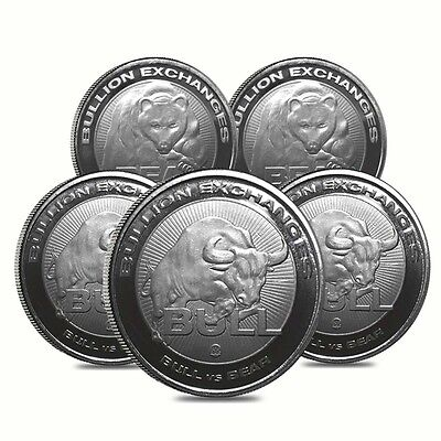 Lot of 5 - 1 oz Bull vs Bear .9999 Fine Silver Round Bullion Exchanges (RMC)