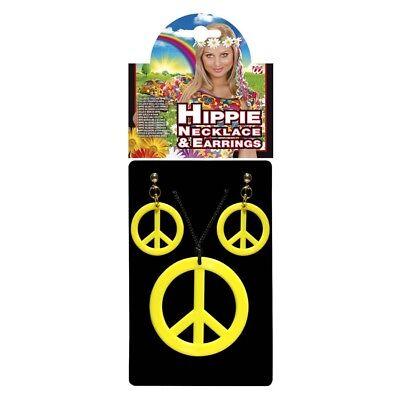 ippie Flower Power Gelbes Ohrclips Peacezeichen Kostüm 5347 (Peace Zeichen Kostüm Schmuck)