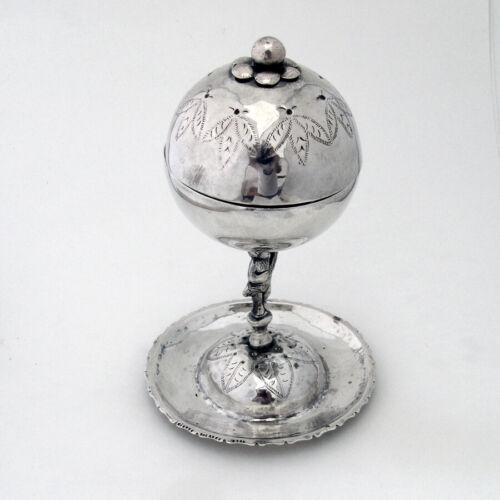 Antique Spanish Colonial Silver Ciborium Eucharist Vessel Monograms