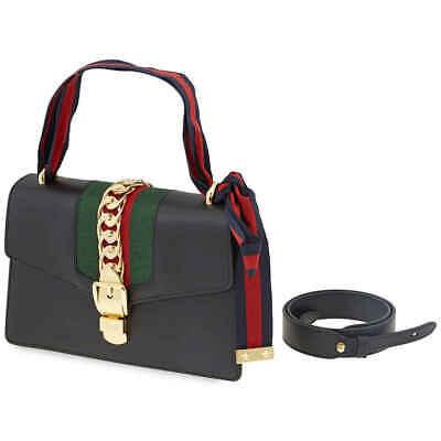 Gucci Sylvie Shoulder Bag in Black 421882 CVLEG 8638