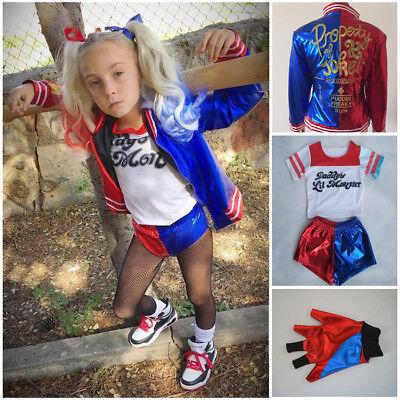 Kids Girls Suicide Squad Harley Quinn Coat Shorts Top Set Halloween Costume Lot (Harley Quinn Halloween Costume)