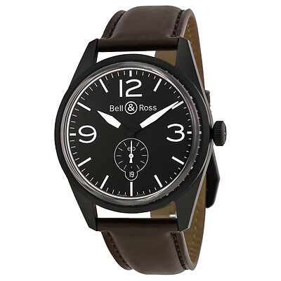 Bell and Ross Vintage Automatic Black Dial Black Dial Brown Leather Mens Watch
