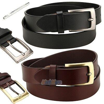 Leather Jean Casual Belt - Men's Casual Jean Belt 35MM Genuine Dakota Leather Signature Buckle 32