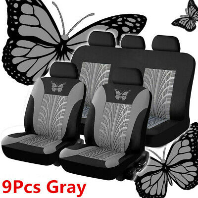 Universal Black/Gray 3D Butterfly Print Car Seat Covers Breathable Cushion 9 Pcs