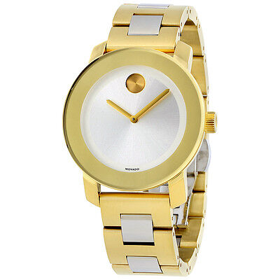 Movado Bold Silver Dial Gold IP Stainless Steel Ladies Watch 3600129