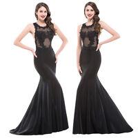 Nuevo Encaje Negro Formal Noche Vestido De Fiesta Largo Baile Dama Honor -  - ebay.es