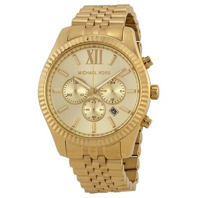 NEW MICHAEL KORS MK8281 YELLOW GOLD TONE STAINLESS STEEL LEXINGTON MENS WATCH UK