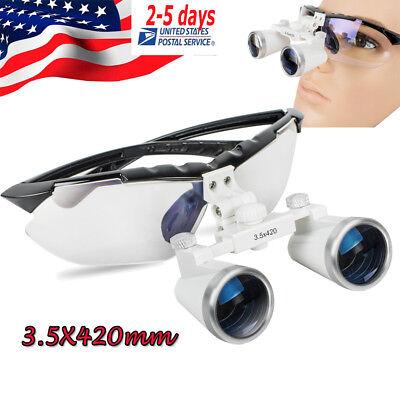 Dental Loupes Medical Binocular 3.5x 420mm Optical Glasses Black Frame Dentist