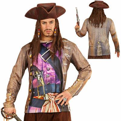 HERREN PIRATENSHIRT Piraten Kostüm Seeräuber Karibik Bedrucktes Hemd (Karibik Piraten Kostüm Herren)