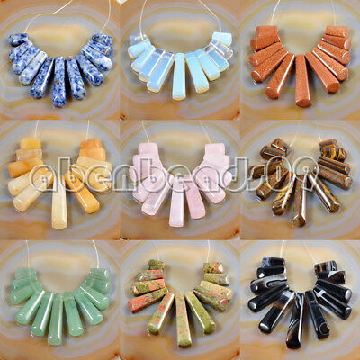 Gemstone Graduated Pendant Stick Beads Set For Necklace Jewelry Design