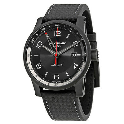 Montblanc Timewalker Urban  Automatic Black Dial Black Leather Mens Watch 113876